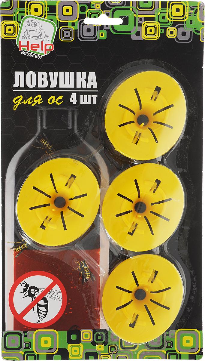Ловушка-насадка для ос Help, на бутылку, 7,5 х 6,5 х 2,7 см, 4 шт ловушка для насекомых mr mouse сз 040012