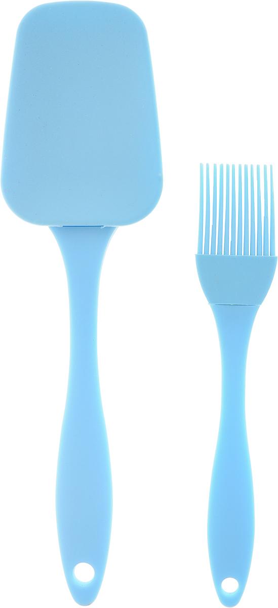Набор кулинарный Marmiton, цвет: голубой, 2 предмета17081_голубойНабор Marmiton состоит из кулинарной кисти и кулинарной лопатки. Предметы набора изготовлены из пищевого силикона и пластика. Изделия из силикона выдерживают высокие и низкие температуры (от -40°С до +230°С). Они износостойки, легко моются, не горят и не тлеют, не впитывают запахи, не оставляют пятен. Силикон абсолютно безвреден для здоровья.Кулинарная лопатка и кисть с удобными пластиковыми ручками станут вашими незаменимыми помощниками на кухне, так как их можно использовать на посуде с любыми видами покрытий. Кулинарный набор Marmiton - отличный подарок, необходимый любой хозяйке.Изделия можно мыть в посудомоечной машине.Длина кулинарной лопатки: 23,5 см.Размер рабочей поверхности лопатка: 8,5 х 6 см.Длина кулинарной кисти: 17,5 см.Размер рабочей поверхности кисти: 3,5 х 3 см.