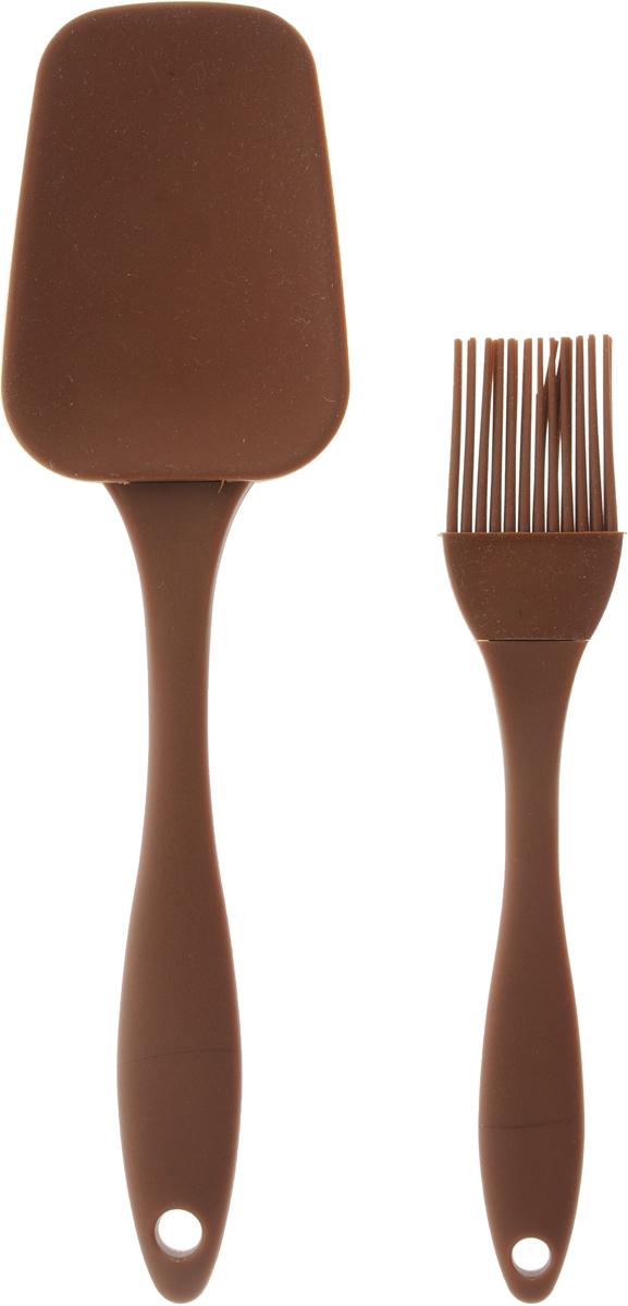 Набор кулинарный Marmiton, цвет: коричневый, 2 предмета17081_коричневыйНабор Marmiton состоит из кулинарной кисти и кулинарной лопатки. Предметы набора изготовлены из пищевого силикона и пластика. Изделия из силикона выдерживают высокие и низкие температуры (от -40°С до +230°С). Они износостойки, легко моются, не горят и не тлеют, не впитывают запахи, не оставляют пятен. Силикон абсолютно безвреден для здоровья.Кулинарная лопатка и кисть с удобными пластиковыми ручками станут вашими незаменимыми помощниками на кухне, так как их можно использовать на посуде с любыми видами покрытий. Кулинарный набор Marmiton - отличный подарок, необходимый любой хозяйке.Изделия можно мыть в посудомоечной машине.Длина кулинарной лопатки: 23,5 см.Размер рабочей поверхности лопатка: 8,5 х 6 см.Длина кулинарной кисти: 17,5 см.Размер рабочей поверхности кисти: 3,5 х 3 см.