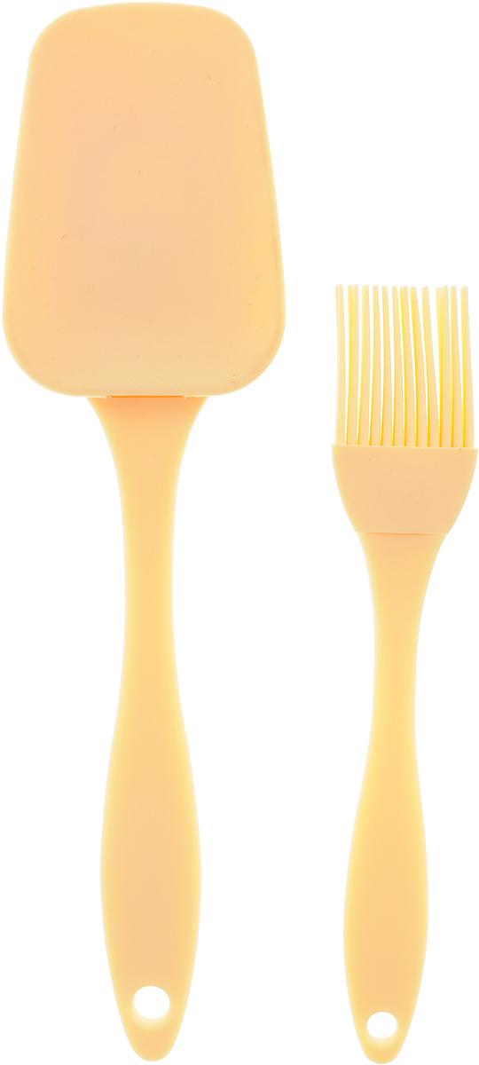 Набор кулинарный Marmiton, цвет: кремовый, 2 предмета17081_кремовыйНабор Marmiton состоит из кулинарной кисти и кулинарной лопатки. Предметы набора изготовлены из пищевого силикона и пластика. Изделия из силикона выдерживают высокие и низкие температуры (от -40°С до +230°С). Они износостойки, легко моются, не горят и не тлеют, не впитывают запахи, не оставляют пятен. Силикон абсолютно безвреден для здоровья.Кулинарная лопатка и кисть с удобными пластиковыми ручками станут вашими незаменимыми помощниками на кухне, так как их можно использовать на посуде с любыми видами покрытий. Кулинарный набор Marmiton - отличный подарок, необходимый любой хозяйке.Изделия можно мыть в посудомоечной машине.Длина кулинарной лопатки: 23,5 см.Размер рабочей поверхности лопатка: 8,5 х 6 см.Длина кулинарной кисти: 17,5 см.Размер рабочей поверхности кисти: 3,5 х 3 см.