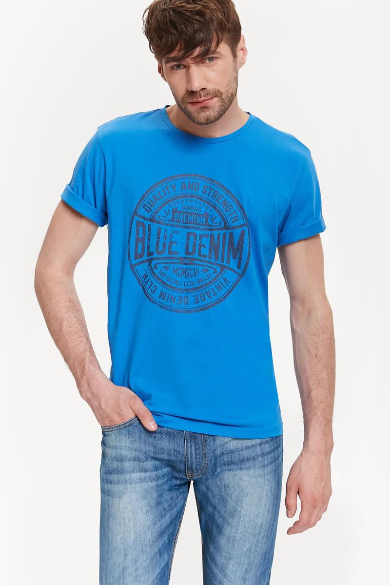 Футболка мужская Top Secret, цвет: синий. SPO3254NI. Размер L (48)SPO3254NIМужская футболка Top Secret выполнена из натурального хлопка. Модель с круглым вырезом горловины и короткими рукавами оформлена оригинальным принтом.