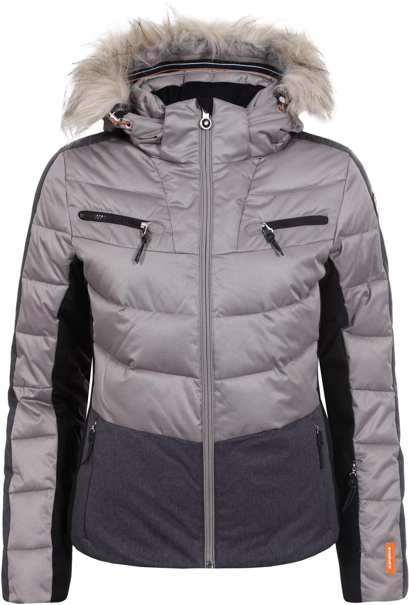 Куртка женская Icepeak, цвет: бежевый. 853205512IV_080. Размер 42 (48)853205512IV_080Куртка женская Icepeak выполнена из полиэстера. Модель с длинными рукавами и капюшоном застегивается на застежку-молнию.