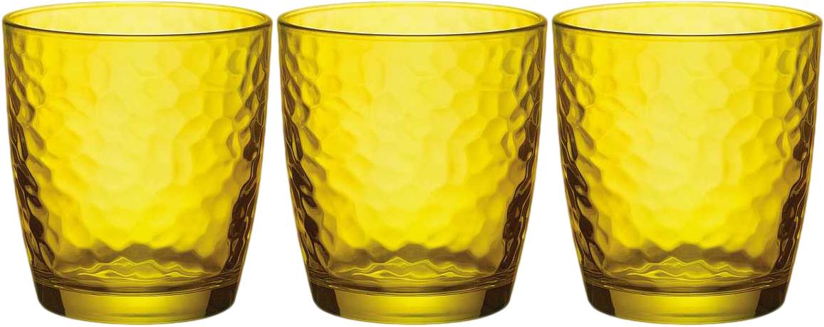 Набор стаканов Bormioli Rocco Палатина, цвет: желтый, 320 мл, 3 шт662570Q02021705Набор Bormioli Rocco Палатина состоит из 3 низких стаканов, выполненных изцветного стекла. Стаканы предназначены для холодных напитков. С внутреннейстороны поверхность стаканов рельефная, что создает эффект игры ипреломления. Благодаря такому набору пить напитки будет еще вкуснее. Стаканы Bormioli Rocco Палатина станут идеальным украшением праздничногостола и отличным подарком к любому случаю. Диаметр стакана по верхнему краю: 8,4 см. Высота стакана: 9,2 см.