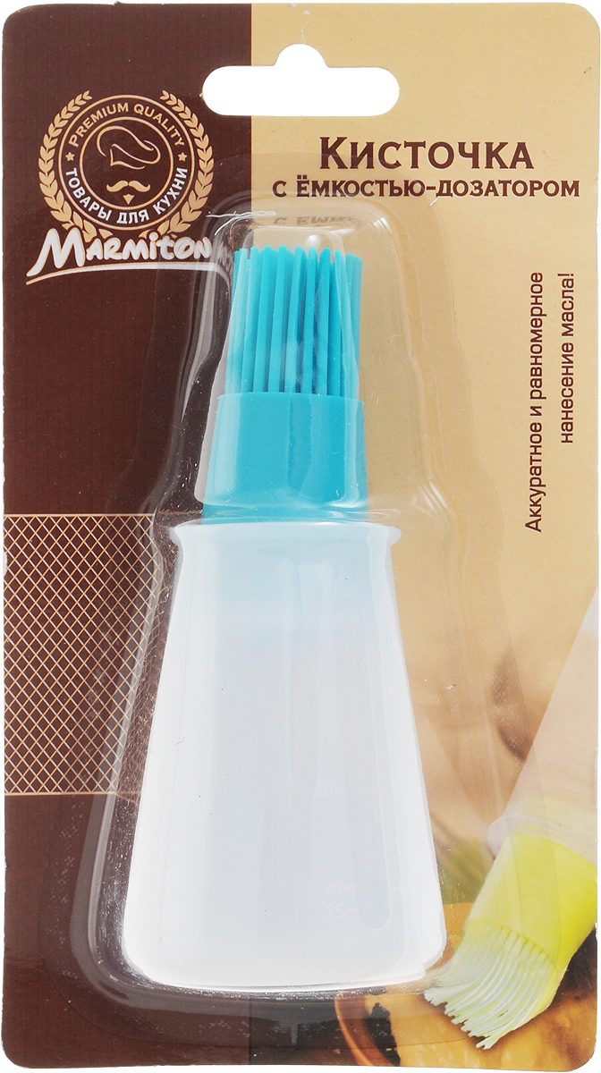 """Силиконовая кисточка """"Marmiton"""" оснащена емкостью-дозатором из пластика. Дозатор помогает  быстро, равномерно и аккуратно нанести необходимое количество масла, соуса или маринада на  выпечку, сковороду или противень. Кисть проста в использовании - резервуар легко наполняется, а его содержимое порционно  подается на кисть легким нажатии. Объем дозатора: 70 мл. Размер изделия (с дозатором): 5 х 5 х 11,5 см."""