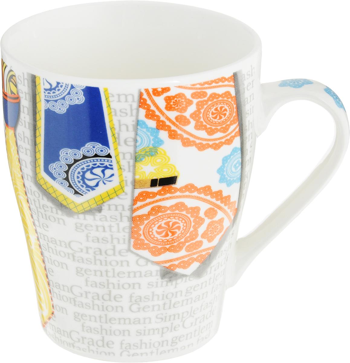 Кружка Loraine Галстук, цвет: желтый, белый, оранжевый, 340 мл24461_желтый, белый, оранжевыйОригинальная кружка Loraine Галстук выполнена из высококачественного костяного фарфора и оформлена красочным принтом. Она станет отличным дополнением к сервировке семейного стола и замечательным подарком для ваших родных и друзей.Диаметр кружки (по верхнему краю): 8,5 см.Высота кружки: 10 см.