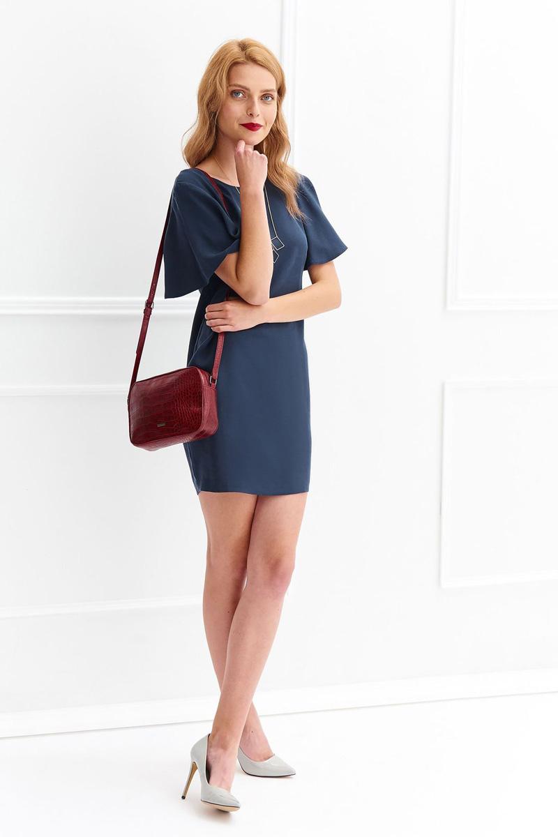 Платье Top Secret, цвет: темно-синий. SSU1879GR. Размер 40 (48)SSU1879GRСтильное платье Top Secret выполнено из высококачественного лиоцелла. Модель мини длины с коротким рукавом-клином и полуоткрытой спиной.
