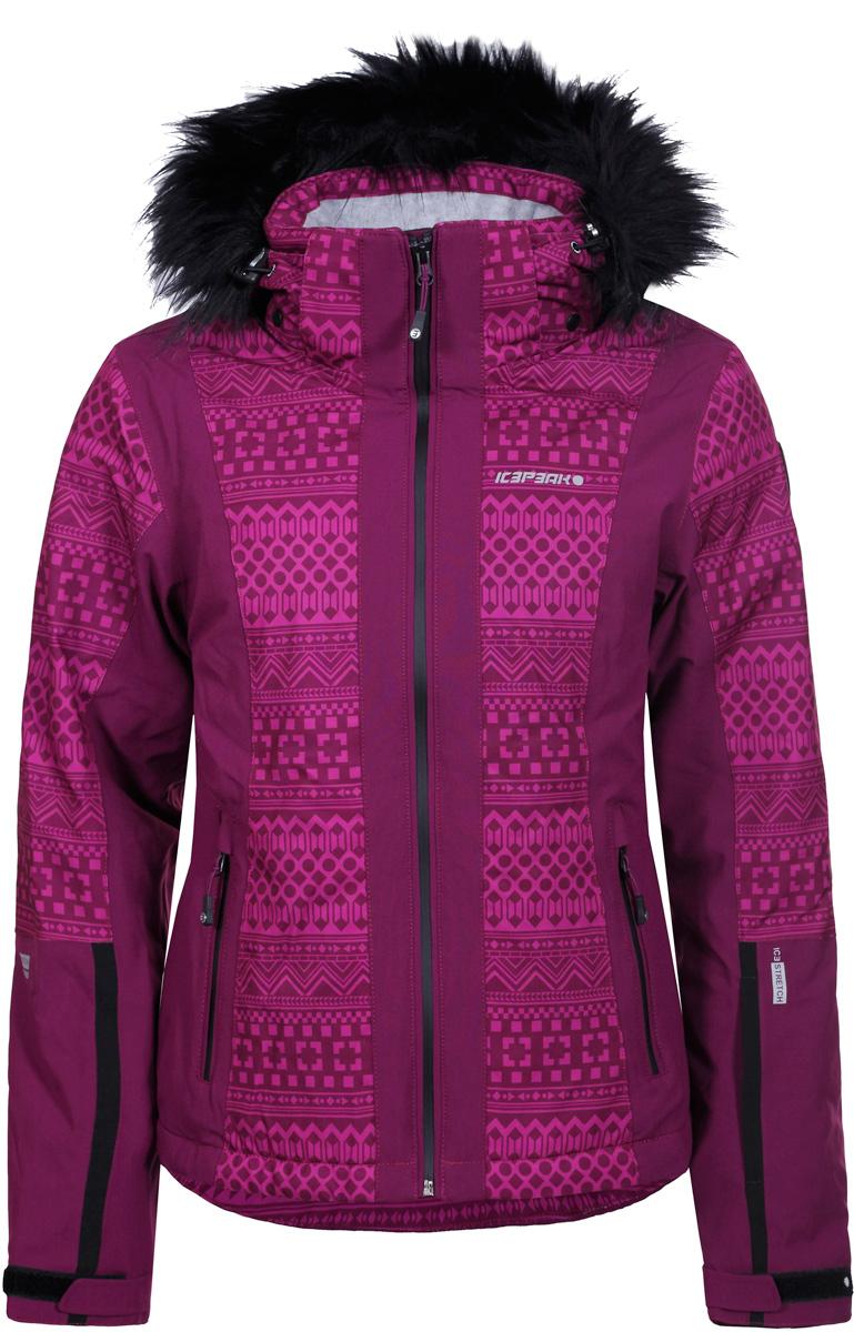 Куртка женская Icepeak, цвет: фуксия. 853115523IVX_750. Размер 34 (40)853115523IVX_750Горнолыжная куртка Icepeak выполнена из плотного текстиля с технологией Icetech 10000. Материал обладает дышащим свойством, при этом надежно защищает от ветра и влаги даже в экстремальных условиях. Модель с капюшоном на кулиске спереди застегивается на молнию с внутренним ветрозащитным клапаном. Куртка оснащена снего- и ветрозащитной юбкой. Рукава дополнены эластичными внутренними манжетами. Модель приталенного силуэта, снабжена светоотражающими элементами. Спереди расположены два кармана на молнии.