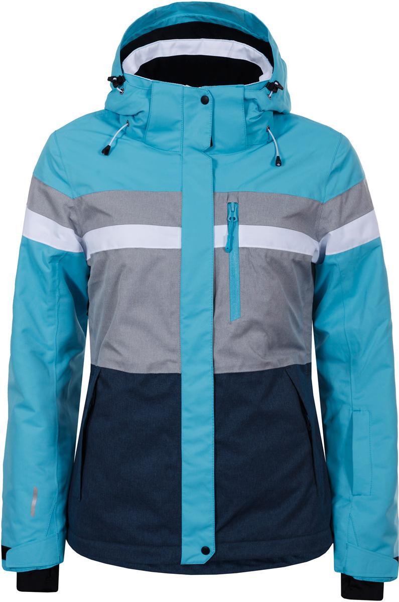Куртка женская Icepeak, цвет: синий. 853228659IV_325. Размер 40 (46)853228659IV_325Куртка женская Icepeak выполнена из полиэстера. Модель с длинными рукавами и капюшоном застегивается на застежку-молнию и кнопки.