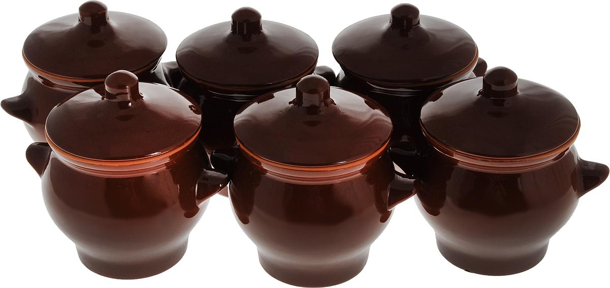 Набор горшочков для запекания Борисовская керамика  Стандарт , с крышками, цвет: темно-коричневый, 600 мл, 6 шт - Посуда для приготовления
