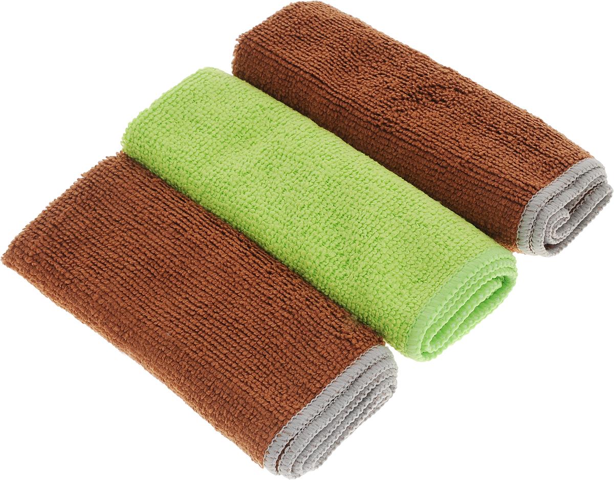 Набор универсальных салфеток Фэйт Вэриес, цвет: коричневый, салатовый, 30 х 30 см, 3 шт1304057_коричневый, салатовыйНабор Фэйт Вэриес состоит из 3 универсальных салфеток, выполненных из микрофибры. Такие салфетки не оставляют ворсинок и разводов, подходят для многократного использования, отлично впитывают влагу.Размер салфетки: 30 х 30 см.