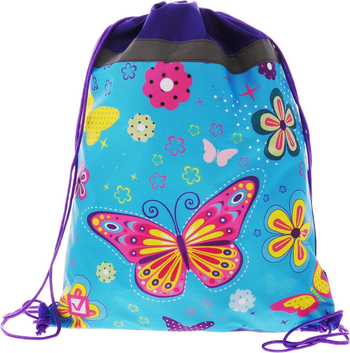 Brauberg Сумка для сменной обуви Бабочка цвет голубой фиолетовый226504_голубой, фиолетовыйСумка для сменной обуви Brauberg предназначена для детей 7-10 лет. Затягивается шнурком и имеет светоотражающую полосу. Яркий и оригинальный принт обязательно привлечет внимание школьников.