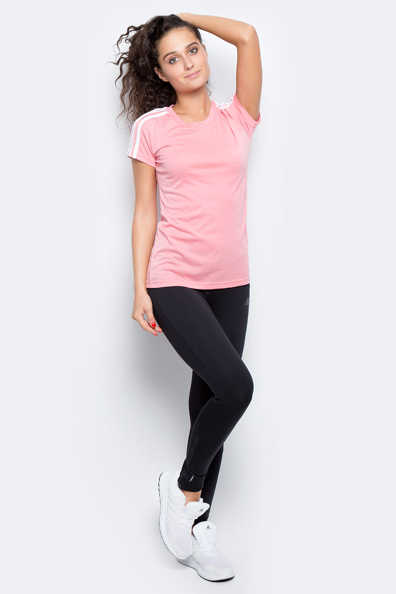 Футболка женская Adidas Ess 3s Slim Tee, цвет: розовый. BR2459. Размер XL (52/54)BR2459Комфортная женская футболка от Adidas с короткими рукавами и круглым вырезом горловины выполнена из высококачественного материала. Модель оформлена на плечах тримя полосками.