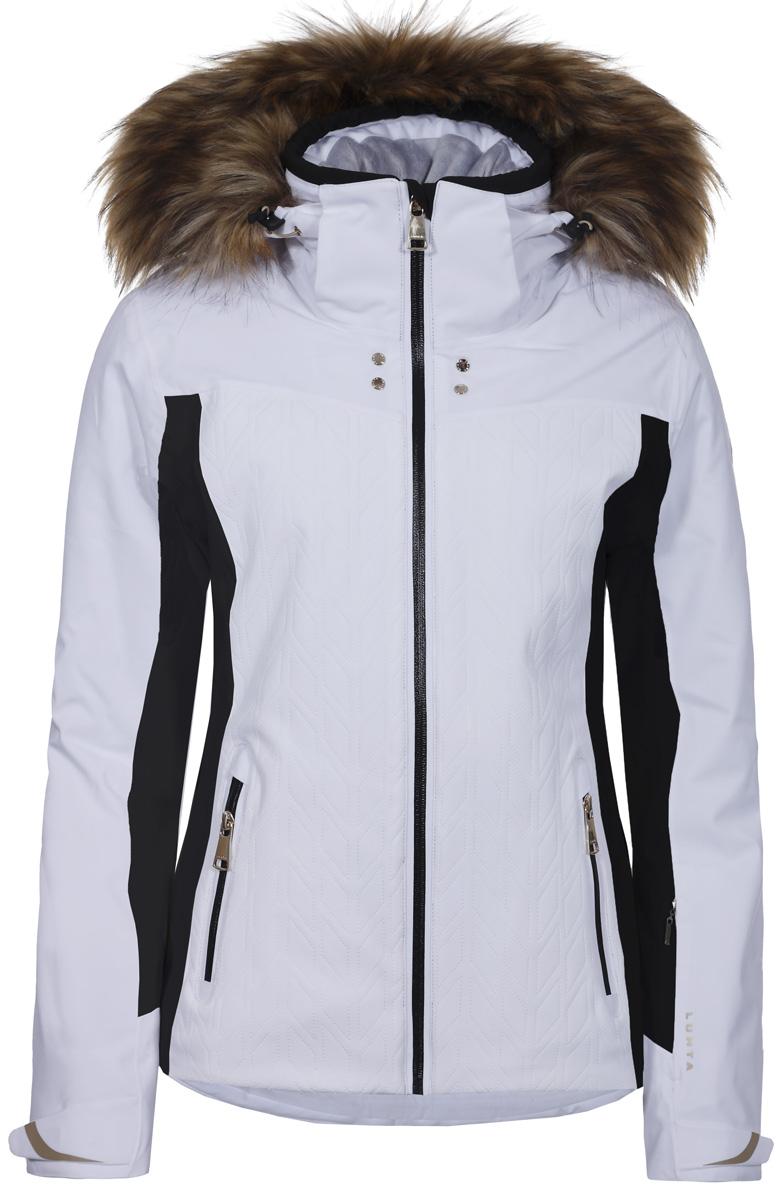 Куртка женская Luhta, цвет: белый. 838428839L7V_980. Размер 36 (44)838428839L7V_980Горнолыжная куртка от Luhta зауженного кроя выполнена из мембранной ткани, влагонепроницаема, ветронепродуваема, критические швы проклеены. Модель имеет отстегивающийся капюшон, регуляторы на капюшоне, по низу изделия и на рукавах, эластичные манжеты, контрастные вставки по бокам и на рукавах, снегозащитную юбку, боковые карманы с теплой подкладкой на молниях, кармашек для ски-пасса на рукаве, внутренний карман для мобильного, петлю для наушников.