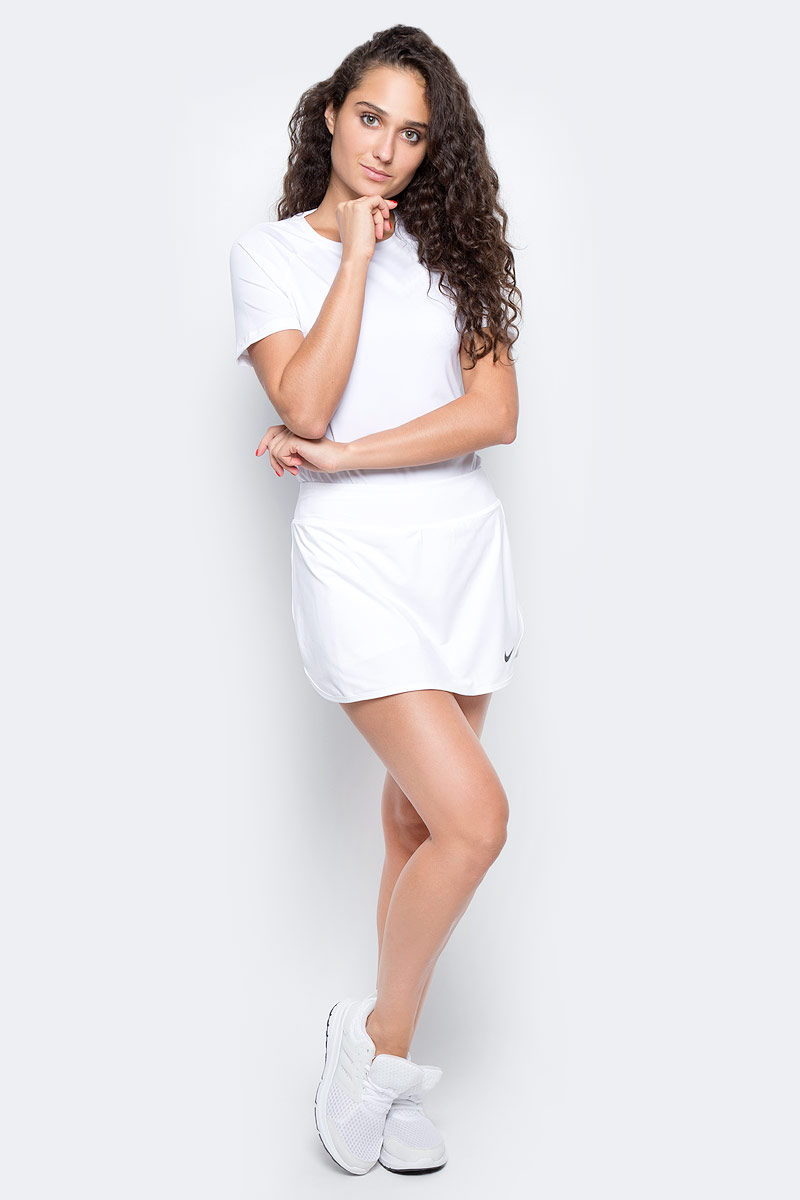Юбка для тенниса Nike Pure Skirt, цвет: белый. 728777-100. Размер M (44/46)728777-100Теннисная юбка Pure Skirt от Nike выполнена из эластичного полиэстера, который обеспечивает комфортную посадку. Ткань Nike Dry с технологией Dri-FIT отводит влагу с кожи на поверхность изделия, где она быстро испаряется. Модель оснащена эластичным поясом и внутренними шортами.