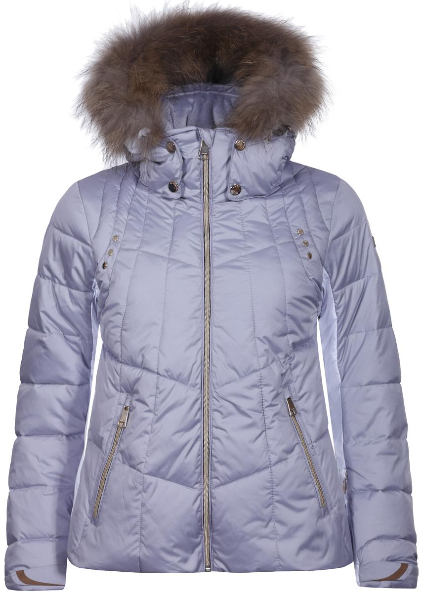 Куртка женская Luhta, цвет: светло-сиреневый. 838433372L8V_220. Размер 40 (48)838433372L8V_220Женская куртка Luhta выполнена из водонепроницаемой и дышащей ткани - высококачественного полиэстера. Модель с воротником-стойка и капюшоном застегивается на застежку-молнию. Изделие оснащено двумя прорезными карманами на застежках-молниях, с внутренней стороны - прорезным карманом на застежке-молнии, на рукаве - прорезным карманом на застежке-молнии. Рукава дополнены внутренними текстильными манжетами и регулируются с помощью хлястиков с липучками. Объем капюшона регулируется при помощи эластичных шнурков. Капюшон дополнен мехом.