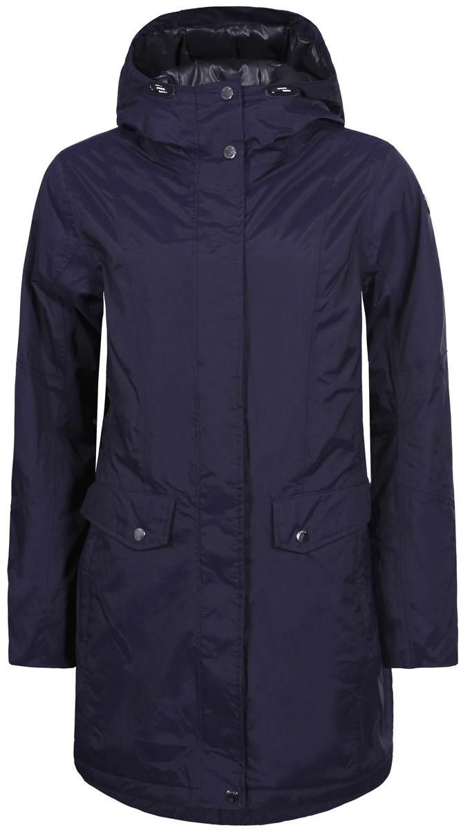 Куртка женская Luhta, цвет: темно-синий. 838447377LV_380. Размер 42 (50)838447377LV_380Женская куртка Luhta выполнена из полиамида и дополнена прострочкой. Модель с воротником-стойкой и капюшоном застегивается на застежку-молнию и оснащена ветрозащитным клапаном. Изделие оснащено двумя прорезными карманами с клапанами на кнопках. Объем капюшона регулируется при помощи эластичных шнурков со стоппером.