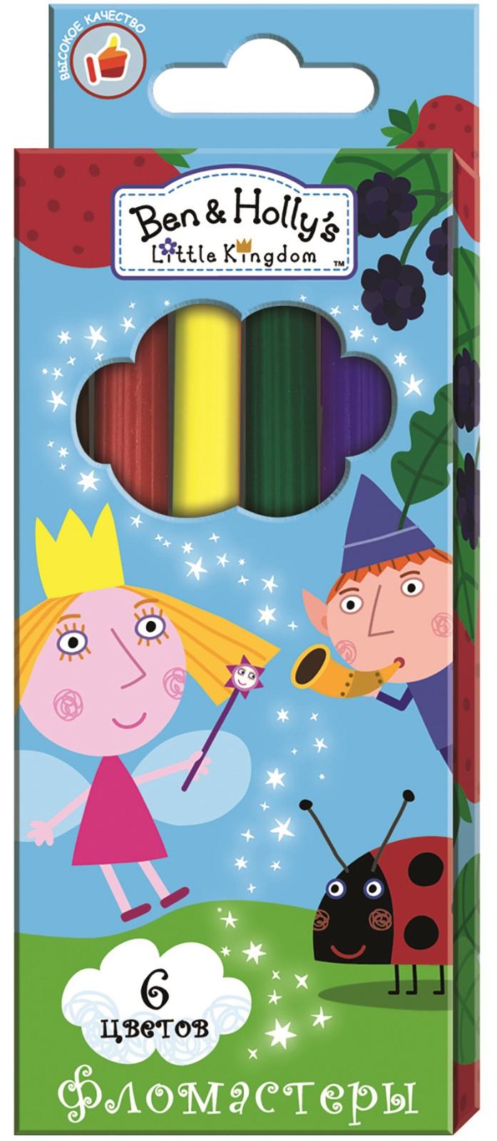 Ben&Holly Набор фломастеров Бен и Холли 6 цветов2569/10Фломастеры ТМ Бен и Холли, идеально подходящие для рисования и раскрашивания, помогут вашему ребенку создавать яркие картинки, аупаковка с любимыми героями будет долгое время радовать юного художника. В набор входит 6 разноцветных фломастеров с вентилируемымиколпачками, безопасными для детей.Диаметр корпуса: 0,8 см; длина: 13,5 см.Фломастеры изготовлены из материала,обеспечивающего прочность корпуса и препятствующего испарению чернил, благодаря этому они имеют гарантированно долгий срок службы:корпус не ломается, даже если согнуть фломастер пополам.Состав: ПВХ, пластик, чернила на водной основе.