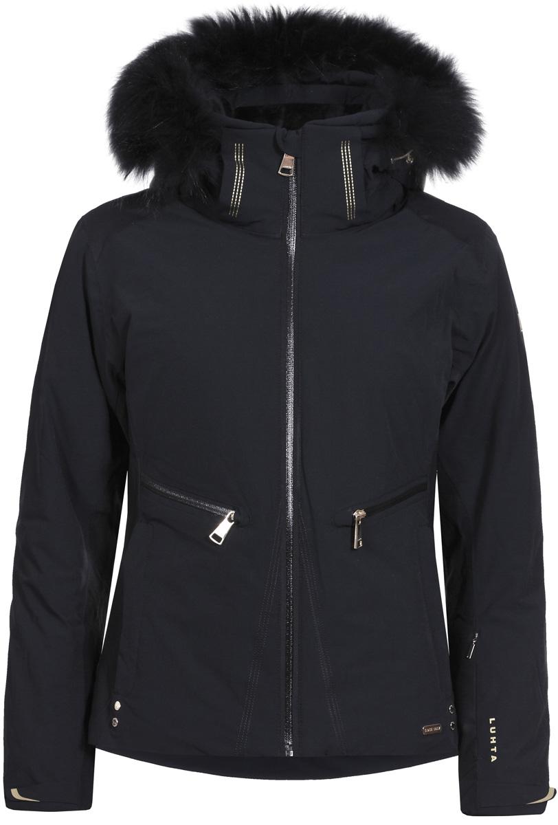 Куртка женская Luhta, цвет: черный. 838426393L8V_990. Размер 36 (44)838426393L8V_990Женская куртка Luhta выполнена из непромокаемой ветрозащитной ткани. Куртка с воротником-стойкой и капюшоном застегивается на удобную застежку-молнию спереди. Манжеты рукавов дополнены застежками-молниями. Спереди расположены втачные карманы на застежках-молниях.