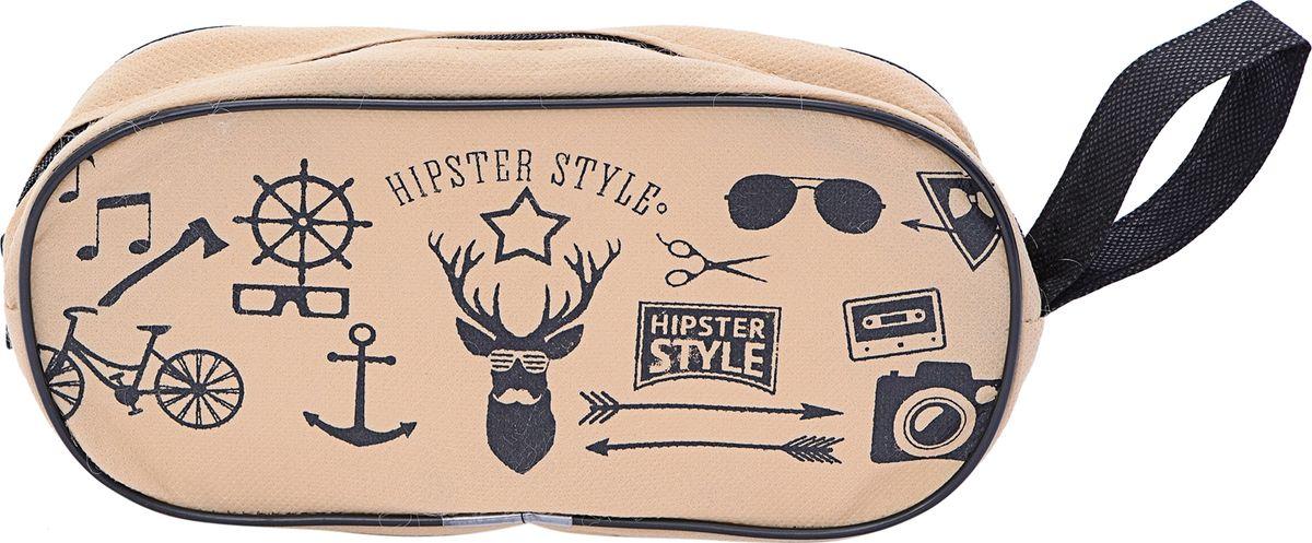 Дорожная косметичка Homsu Hipster Style, цвет: черный, темно-бежевый, 25 х 12 х 5 см органайзер homsu hipster style 31 х 24 х 11 см hom 759