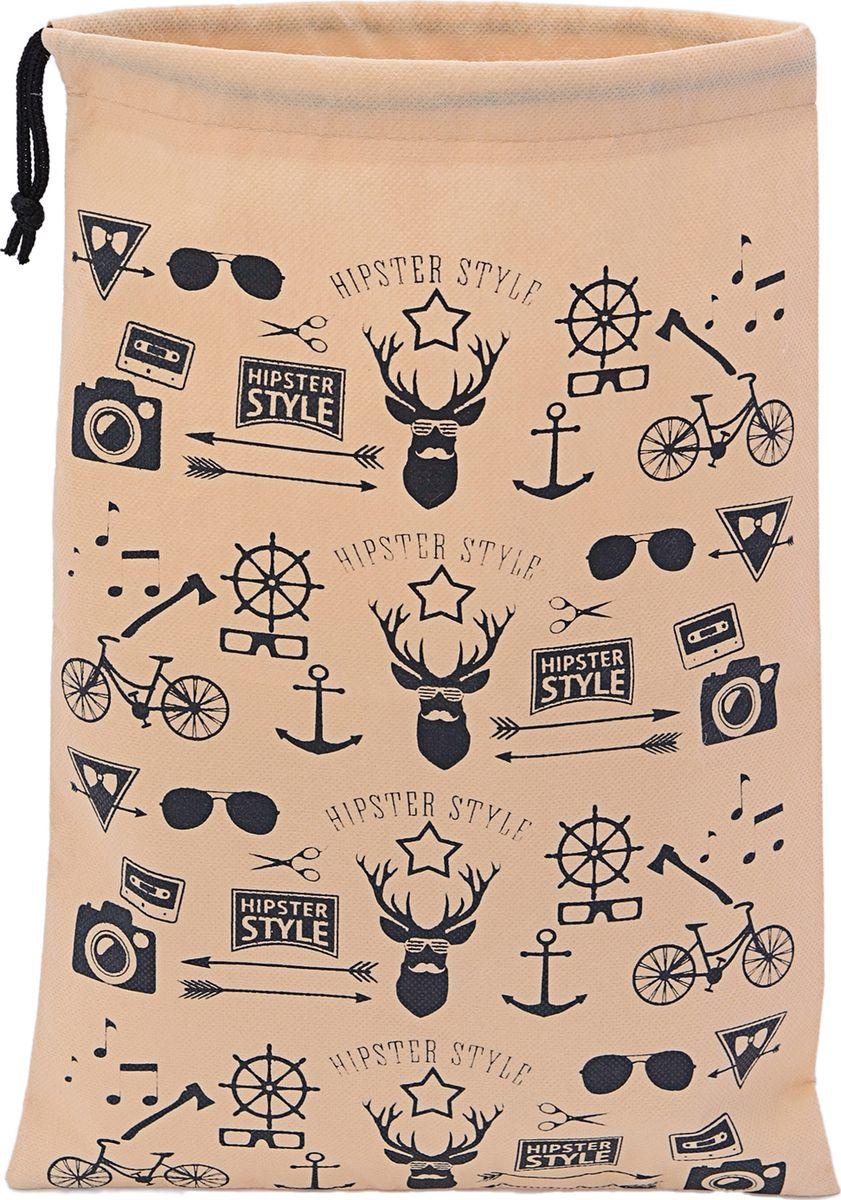 Мешок для вещей Homsu Hipster Style, цвет: темно-бежевый, черный, 30 х 45 смHOM-844Мешок Homsu Hipster Style - это легкий компактный мешок, изготовленный из спанбонда, предназначенный для оптимизации пространства в вашем багаже, в него можно сложить одежду, белье, аксессуары и другие вещи. Горловина изделия затягивается специальным шнуром. Мешок выполнен в популярном дизайне Hipster Style. Размер: 30 см х 45 см.