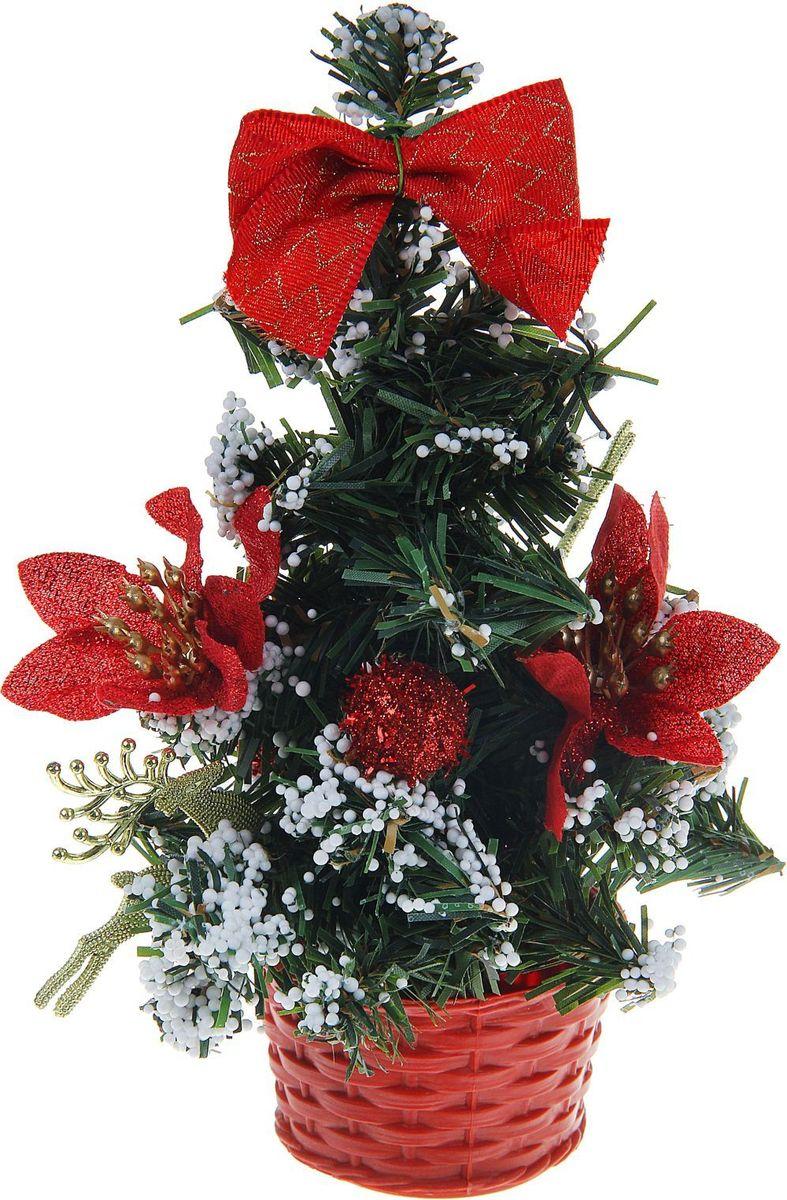 Елка настольная, цвет: красный, 20 см. 706034706034Блестки, бантики и цветы создадут новогоднее настроение. Такую ель не нужно украшать – она уже нарядная. А благодаря аккуратному горшочку, в который помещена елочка, она станет прекрасным украшением любого интерьера.Новый год – любимый праздник многих. В преддверии этого чудесного времени преображается все вокруг – улицы, дома и даже люди, окружающие нас. Преобразите и вы свой дом. Отличной помощницей вам в этом станет елка с красным декором и снегом.