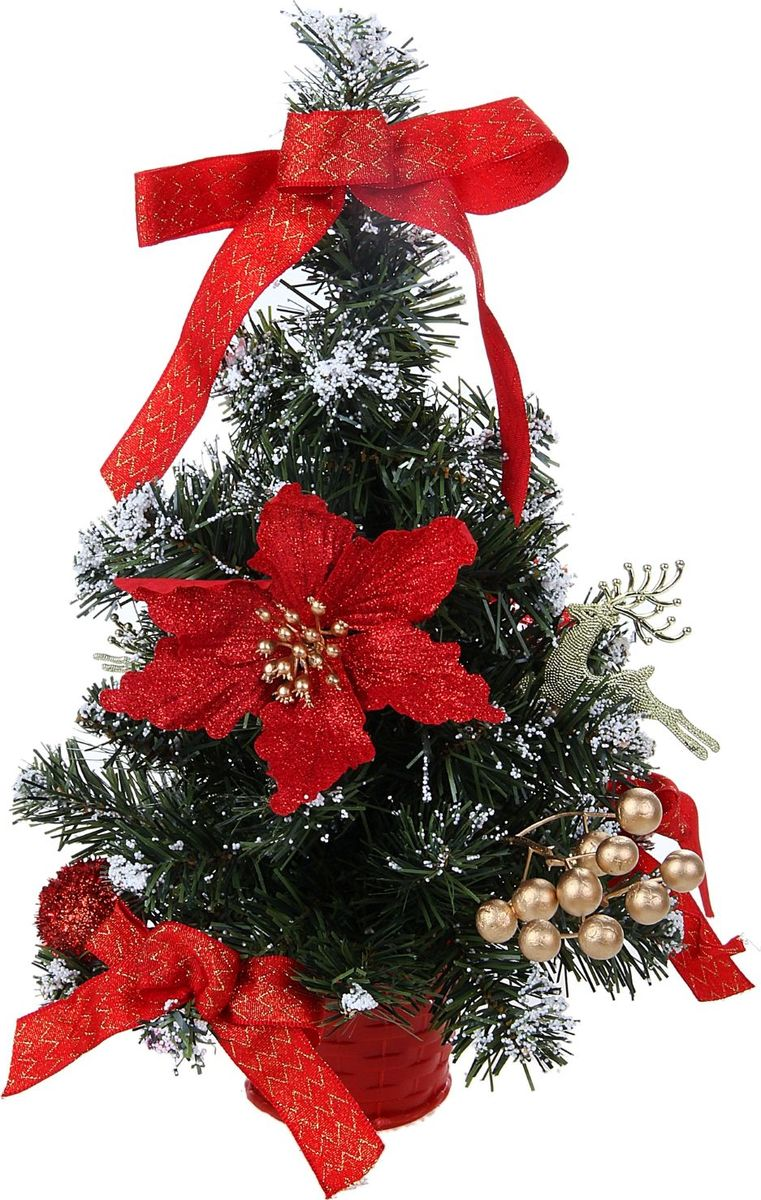 Ель искусственная Sima-land Новогодняя елочка, настольная, высота 40 см.706036Блестки, бантики и прекрасные цветы поддержат новогоднее настроение. Такую ель не нужно украшать - она уже нарядная. А благодаря аккуратному горшочку, в который помещена елочка, она станет прекрасным украшением изысканного интерьера.Новый год - волшебный праздник. В преддверии этого чудесного времени преображается все вокруг - улицы, дома и даже люди, окружающие нас. Преобразите и вы свой дом. Отличной помощницей в этом станет елка с красным декором и снегом.Ель прикреплена к пластиковому горшочку.
