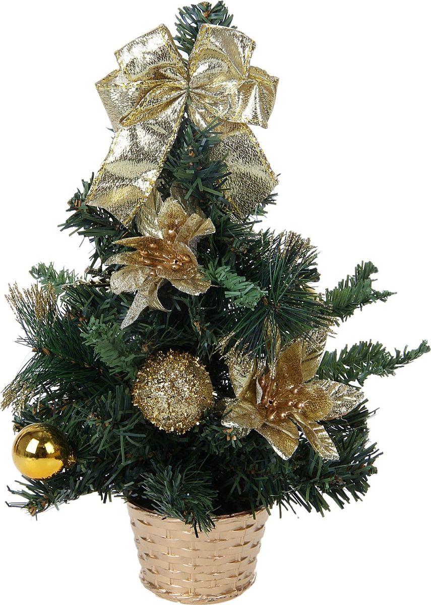 Ель искусственная Sima-land Новогодняя елочка, настольная, высота 30 см706039Блестки, бантики и цветы создадут новогоднее настроение. Такую ель не нужно украшать - она уже нарядная. А благодаря аккуратному горшочку, в который помещена елочка, она станет прекрасным украшением любого интерьера. Ель прикреплена к пластиковому горшочку.
