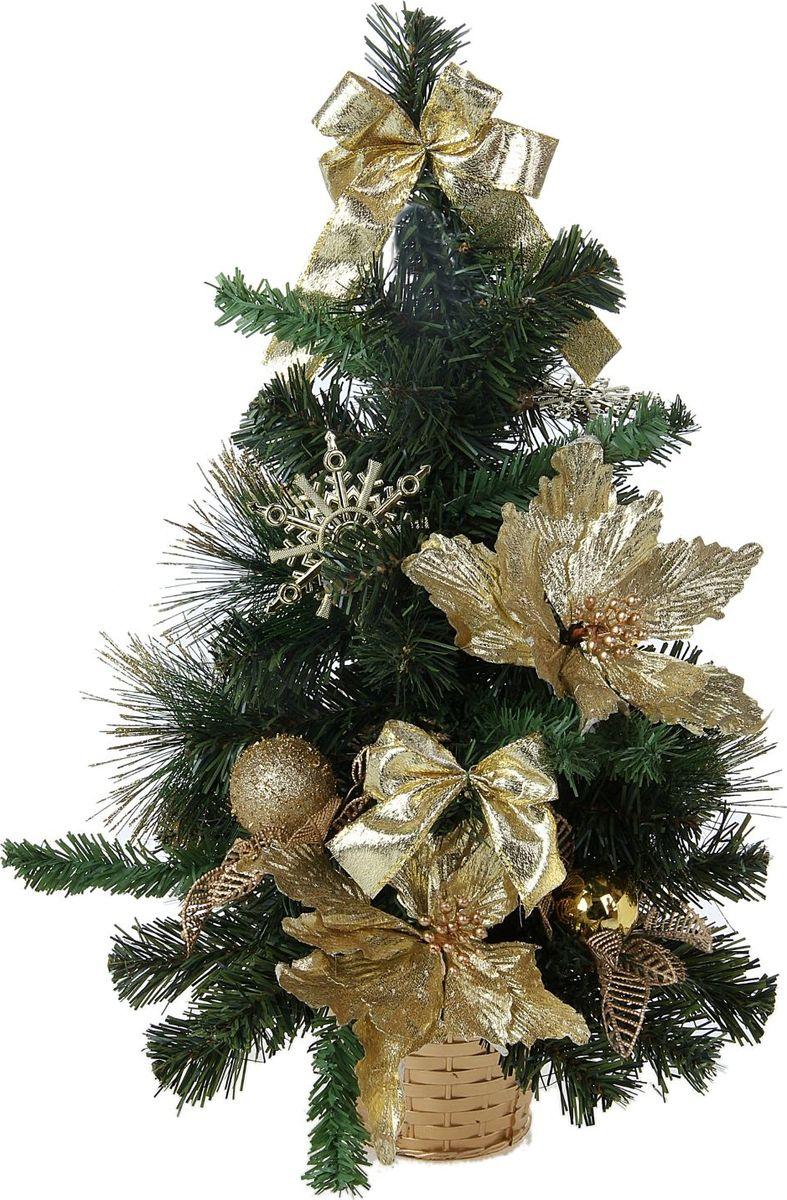 Ель искусственная Sima-land Новогодняя елочка, настольная, высота 50 см706041Прекрасные цветы, блестящие бантики и симпатичные снежинки. Такую ель не нужно украшать - она уже нарядная. елка декорированная Золотые снежинки – это отличный выбор, если вы решили выбрать оригинальное украшение для создания изысканного новогоднего интерьера.Невозможно представить нашу жизнь без праздников! Мы всегда ждем и предвкушаем их, обдумываем, как проведем памятный день, тщательно выбираем подарки и аксессуары, ведь именно они создают и поддерживают праздничный настрой.Елочка прикреплена к пластиковому горшочку.