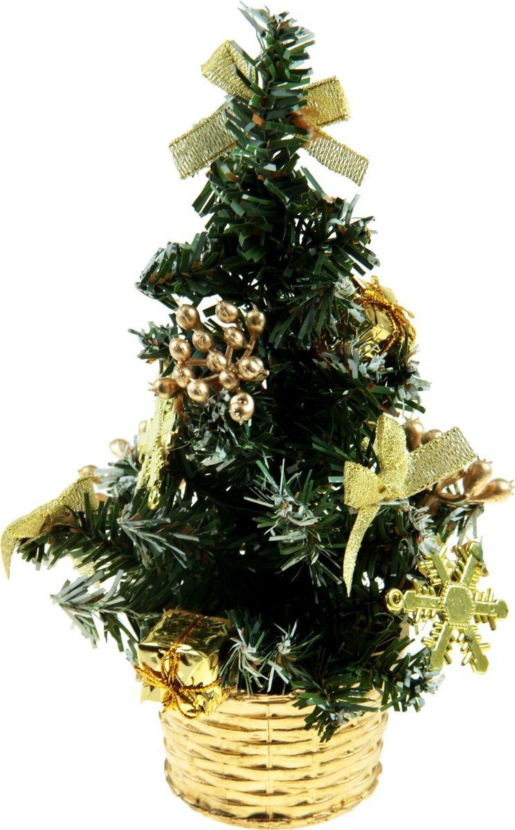 Ель искусственная Sima-land Новогодняя елочка, настольная, высота 20 см819240Блестки, бантики и цветы создадут новогоднее настроение. Такую ель не нужно украшать - она уже нарядная. А благодаря аккуратному горшочку, в который помещена елочка, она станет прекрасным украшением любого интерьера. Ель прикреплена к пластиковому горшочку.