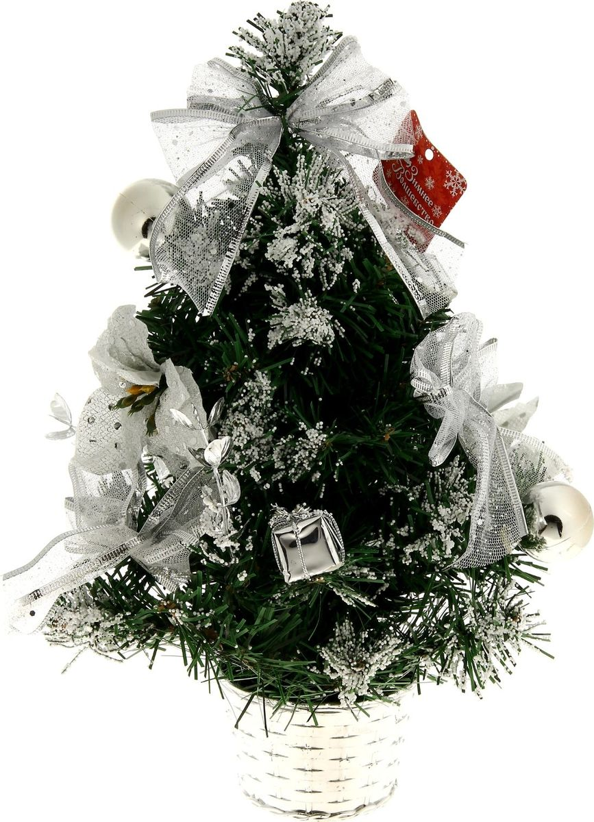 Елка настольная, цвет: серый металлик, 30 см. 819241819241Блестки, бантики и цветы создадут новогоднее настроение. Такую ель не нужно украшать – она уже нарядная. А благодаря аккуратному горшочку, в который помещена елочка, она станет прекрасным украшением любого интерьера.Новый год – любимый праздник многих. В преддверии этого чудесного времени преображается все вокруг – улицы, дома и даже люди, окружающие нас. Преобразите и вы свой дом. Отличной помощницей вам в этом станет елка декорированная Заснеженная серебряная пуансетия.