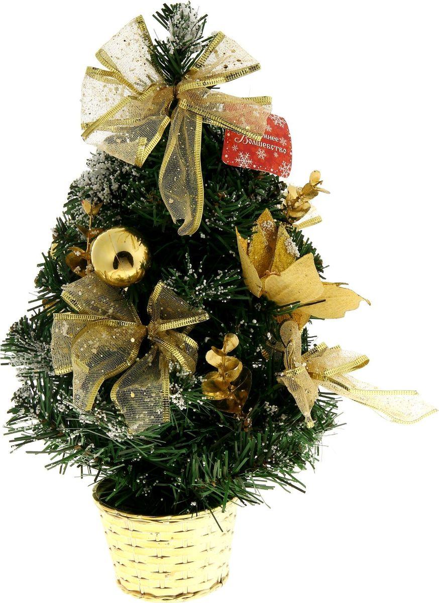 Ель искусственная Sima-Land, настольная, высота 30 см. 819245819245Блестки, бантики и цветы настольной мини-елочки Sima-Land создадут новогоднее настроение. Такую ель не нужно украшать - она уже нарядная. А благодаря аккуратному горшочку, в который помещена елочка, она станет прекрасным украшением любого интерьера.Новый год - любимый праздник многих. В преддверии этого чудесного времени преображается все вокруг – улицы, дома и даже люди, окружающие нас. Преобразите и вы свой дом. Отличной помощницей вам в этом станет елка декоративная Sima-Land.