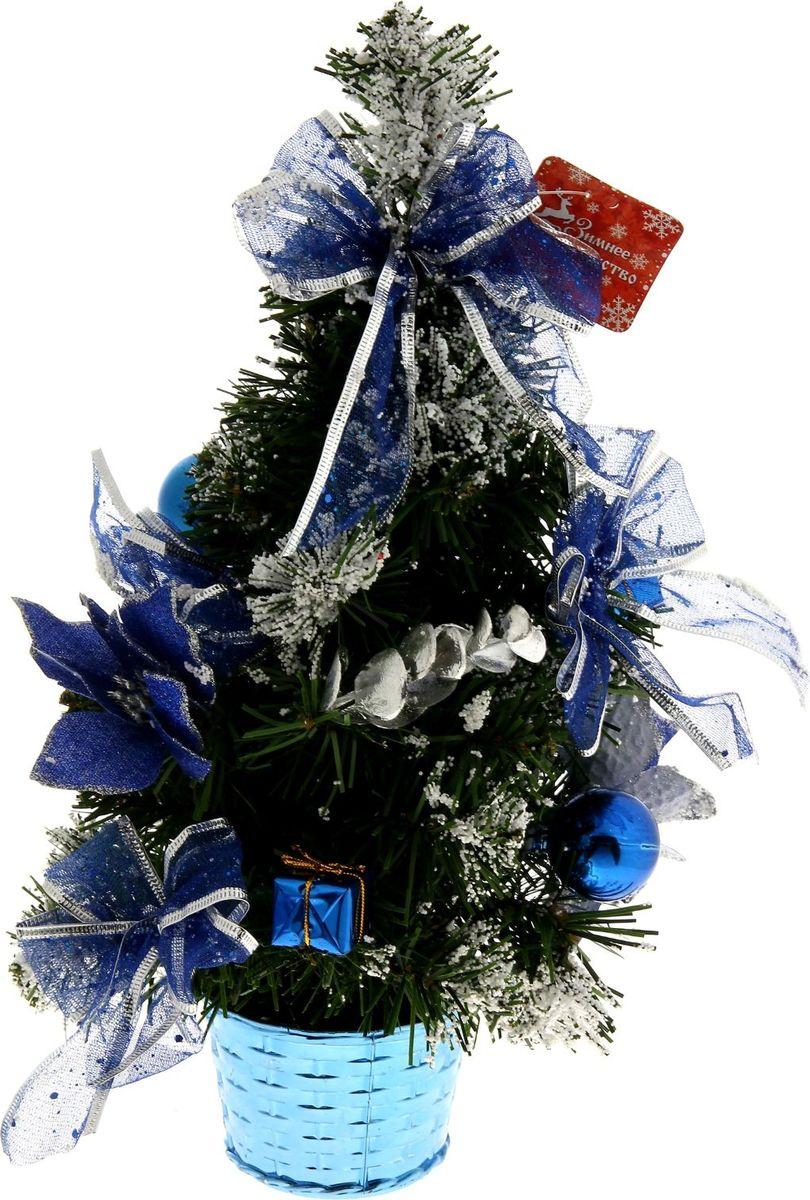 Ель искусственная Sima-land Синяя пуансетия в снегу, настольная, высота 40 см819254Веточки, припорошенные снегом, мерцающие бантики и блестящие игрушки создадут новогоднее настроение. Такую ель не нужно украшать – она уже нарядная. А благодаря аккуратному горшочку, в который помещена ель, она станет прекрасным украшением изысканного интерьера. Для большего объема и пушистости, ветки елочки закреплены в хаотичном порядке.Новый год - любимый праздник многих. В преддверии этого чудесного времени преображается все вокруг - улицы, дома и даже люди, окружающие нас. Преобразите и вы свой дом. Отличной помощницей вам в этом станет елочка Синяя пуансетия в снегу.