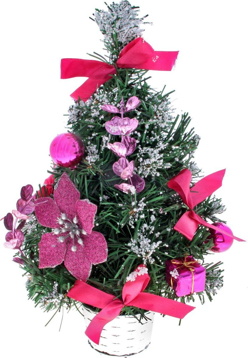 Ель искусственная Sima-land Розовая пуансетия в снегу, настольная, высота 30 см819257Блестки, бантики, шары и цветы создадут новогоднее настроение. Такую ель не нужно украшать - она уже нарядная. А благодаря аккуратному горшочку, в который помещена елочка, она станет прекрасным украшением любого интерьера. Для большего объема и пушистости, ветки елочки закреплены в хаотичном порядке.Новый год - любимый праздник многих. В преддверии этого чудесного времени преображается все вокруг – улицы, дома и даже люди, окружающие нас. Преобразите и вы свой дом!