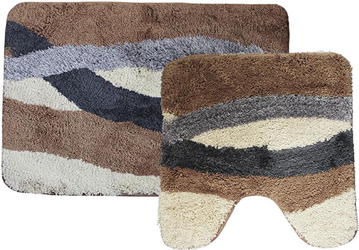 Комплект ковриков для ванной Dasch Альбина, цвет: коричневый, бежевый, 2 предмета4529Невероятно мягкий комплект ворсовых ковриков для ванной комнаты и туалета. Ворс выполнен из микрофибры по уникальной технологии, разработанной специально для этой коллекции. Тончайшая микрофибра закручена в нить ворса таким образом, что она наполнена воздухом, и буквально дышит, что делает ворс невероятно мягким и нежным на ощупь. Благодаря такой технологии изготовления коврик обладает высокими влаговпитывающими свойствами. Яркие расцветки достигаются окрасом нитей высококачественными красителями, которые дают насыщенный цвет, не выцветают со временем и не линяют при стирке и использовании. Основание коврика выполнено из высококачественного латекса, который обеспечивает противоскользящий эффект, не крошится даже при длительном использовании. Коврик подходит для пола с подогревом. Допускается деликатная ручная или машинная стирка при t=30 C). После стирки коврик быстро сохнет. Плотность ворса 700 гр/м2