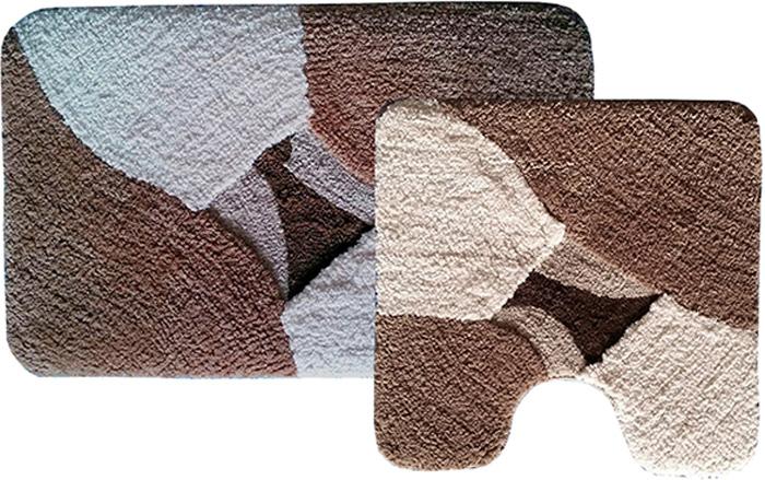 Комплект ковриков для ванной Dasch Дебора, цвет: коричневый, бежевый, 2 предмета5111Невероятно мягкий комплект ворсовых ковриков для ванной комнаты и туалета. Ворс выполнен из микрофибры по уникальной технологии, разработанной специально для этой коллекции. Тончайшая микрофибра закручена в нить ворса таким образом, что она наполнена воздухом, и буквально дышит, что делает ворс невероятно мягким и нежным на ощупь. Благодаря такой технологии изготовления коврик обладает высокими влаговпитывающими свойствами. Яркие расцветки достигаются окрасом нитей высококачественными красителями, которые дают насыщенный цвет, не выцветают со временем и не линяют при стирке и использовании. Основание коврика выполнено из высококачественного латекса, который обеспечивает противоскользящий эффект, не крошится даже при длительном использовании. Коврик подходит для пола с подогревом. Допускается деликатная ручная или машинная стирка при t=30 C). После стирки коврик быстро сохнет. Плотность ворса 700 гр/м2