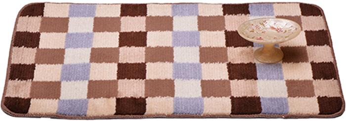 Коврик для ванной комнаты Dasch Клетка, цвет: бежевый, коричневый, 50 х 80 см коврик круглый для ванной dasch авангард