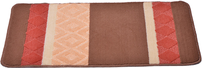 Коврик для ванной комнаты Dasch Ромбы, цвет: коричневый, оранжевый, 50 х 80 см5734Практичный ворсовый коврик для ванной комнаты. Интересный и яркий дизайн. Коврик обладает хорошими влаговпитывающими свойствами, рисунок не выцветает и не линяет. Основание коврика выполнено из латекса, который обеспечивает противоскользящий эффект, коврик не крошится. Допускается ручная или машинная стирка при температуре не более 40 C. После стирки коврик быстро сохнет. Плотность ворса 450 гр/м2.