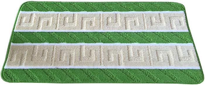 Коврик для ванной комнаты Dasch Орнамент, цвет: бежевый, зеленый, 50 х 80 см5738Практичный ворсовый коврик для ванной комнаты. Интересный и яркий дизайн. Коврик обладает хорошими влаговпитывающими свойствами, рисунок не выцветает и не линяет. Основание коврика выполнено из латекса, который обеспечивает противоскользящий эффект, коврик не крошится. Допускается ручная или машинная стирка при температуре не более 40 C. После стирки коврик быстро сохнет. Плотность ворса 450 гр/м2