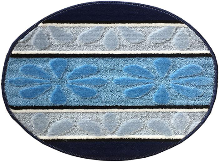 Коврик для ванной комнаты Dasch Ромашка, цвет: синий, голубой, диаметр 55 см коврик круглый для ванной dasch авангард