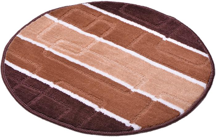 Коврик для ванной комнаты Dasch Авангард, цвет: коричневый, диаметр 55 см5743Практичный ворсовый коврик для ванной комнаты. Интересный и яркий дизайн. Коврик обладает хорошими влаговпитывающими свойствами, рисунок не выцветает и не линяет. Основание коврика выполнено из латекса, который обеспечивает противоскользящий эффект, коврик не крошится. Допускается ручная или машинная стирка при температуре не более 40 C. После стирки коврик быстро сохнет. Плотность ворса 450 гр/м2.