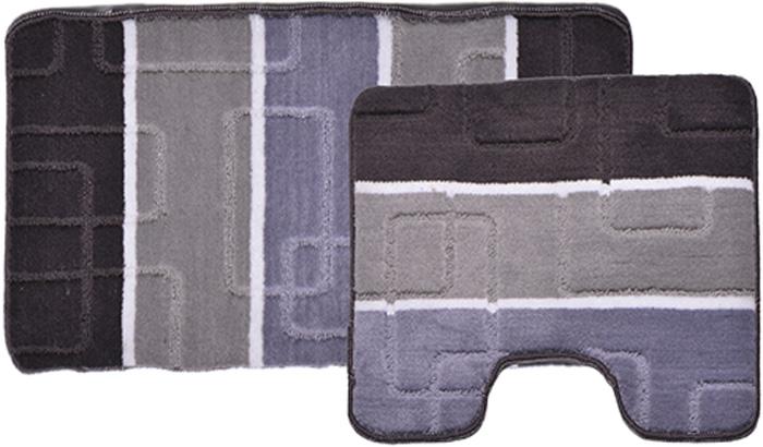 Комплект ковриков для ванной Dasch Авангард, цвет: серый, сиреневый, 2 предмета коврик круглый для ванной dasch орнелла