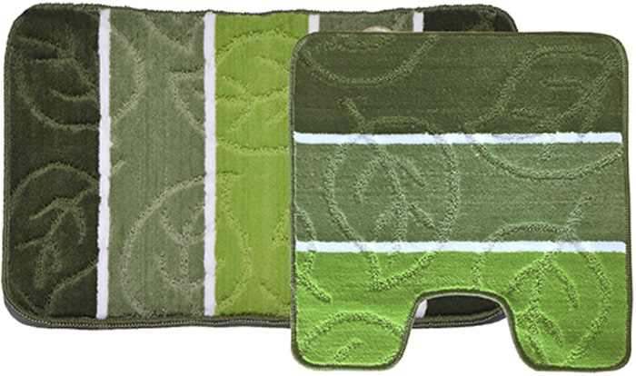 Комплект ковриков для ванной Dasch Листопад, цвет: зеленый, 2 шт набор ковриков для ванной и туалета axentia цвет коричневый 2 шт