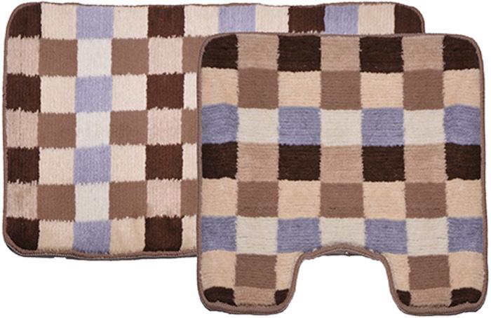 Комплект ковриков для ванной Dasch Клетка, цвет: бежевый, коричневый, 2 шт5749Практичный комплект ворсовых ковриков для ванной комнаты и туалета. Интересный и яркий дизайн. Коврики обладают хорошими влаговпитывающими свойствами, рисунок не выцветает и не линяет. Основание ковриков выполнено из латекса, который обеспечивает противоскользящий эффект, коврик не крошится. Допускается ручная или машинная стирка при температуре не более 40 °C. После стирки коврики быстро сохнут.Плотность ворса: 450 гр/м2.