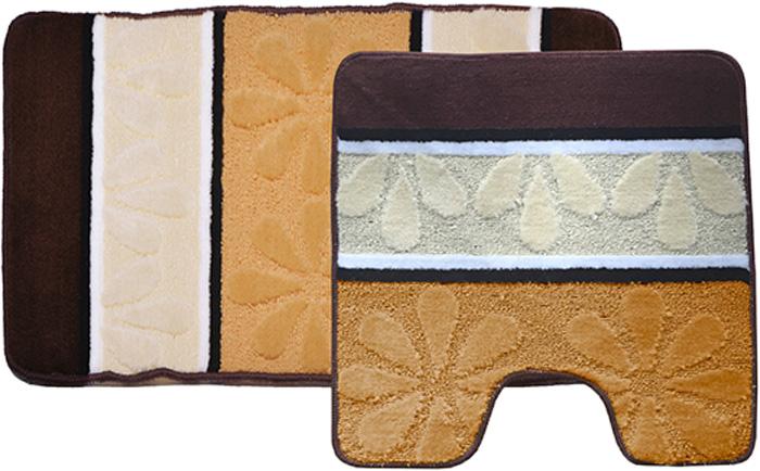 Комплект ковриков для ванной Dasch Ромашка, цвет: желтый, коричневый, 2 предмета5750Практичный комплект ворсовых ковриков для ванной комнаты и туалета. Интересный и яркий дизайн. Коврик обладает хорошими влаговпитывающими свойствами, рисунок не выцветает и не линяет. Основание коврика выполнено из латекса, который обеспечивает противоскользящий эффект, коврик не крошится. Допускается ручная или машинная стирка при температуре не более 40 C. После стирки коврик быстро сохнет. Плотность ворса 450 гр/м2