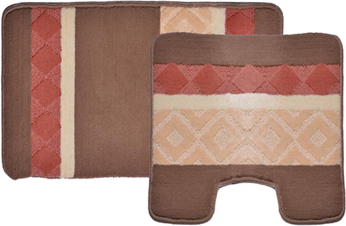 Комплект ковриков для ванной Dasch Ромбы, цвет: коричневый, оранжевый, 2 предмета коврик круглый для ванной dasch орнелла