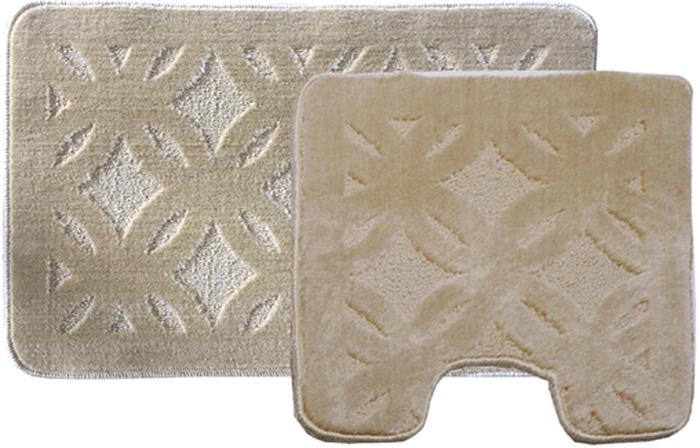 Комплект ковриков для ванной Dasch Квадро, цвет: бежевый, 2 предмета5752Практичный комплект ворсовых ковриков для ванной комнаты и туалета. Интересный и яркий дизайн. Коврик обладает хорошими влаговпитывающими свойствами, рисунок не выцветает и не линяет. Основание коврика выполнено из латекса, который обеспечивает противоскользящий эффект, коврик не крошится. Допускается ручная или машинная стирка при температуре не более 40 C. После стирки коврик быстро сохнет. Плотность ворса 450 гр/м2