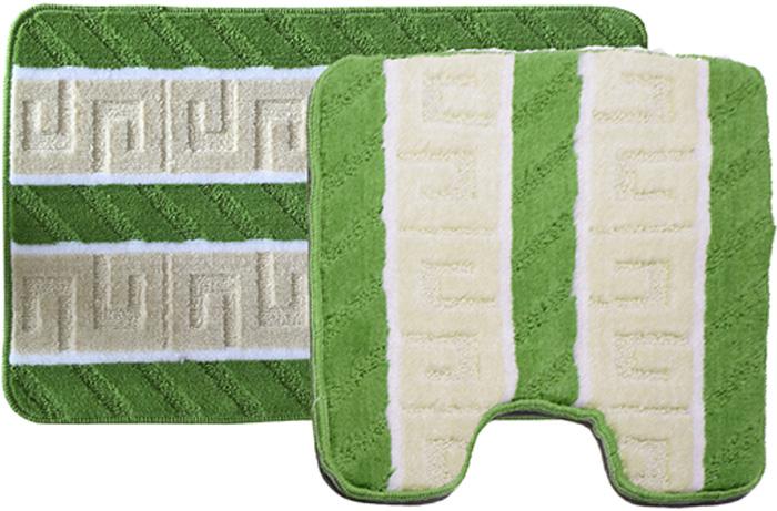 Комплект ковриков для ванной Dasch Орнамент, цвет: бежевый, зеленый, 2 предмета5754Практичный комплект ворсовых ковриков для ванной комнаты и туалета. Интересный и яркий дизайн. Коврик обладает хорошими влаговпитывающими свойствами, рисунок не выцветает и не линяет. Основание коврика выполнено из латекса, который обеспечивает противоскользящий эффект, коврик не крошится. Допускается ручная или машинная стирка при температуре не более 40 C. После стирки коврик быстро сохнет. Плотность ворса 450 гр/м2