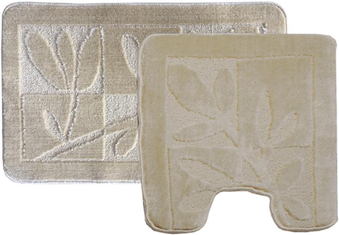 Комплект ковриков для ванной Dasch Лавр, цвет: бежевый, 2 шт5755Практичный комплект ворсовых ковриков для ванной комнаты и туалета. Интересный и яркий дизайн. Коврики обладают хорошими влаговпитывающими свойствами, рисунок не выцветает и не линяет. Основание ковриков выполнено из латекса, который обеспечивает противоскользящий эффект, коврик не крошится. Допускается ручная или машинная стирка при температуре не более 40 °C. После стирки коврики быстро сохнут.Плотность ворса: 450 гр/м2.