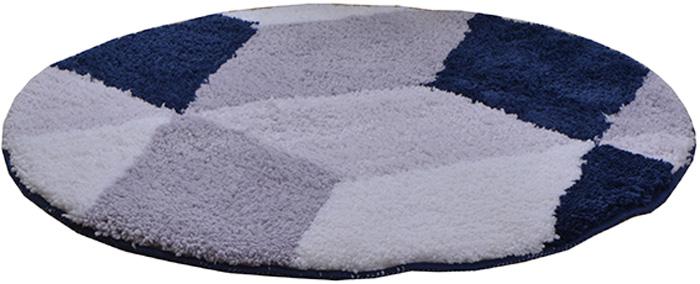 Коврик для ванной комнаты Dasch Орнелла, цвет: серый, синий, диаметр 55 см5810Невероятно мягкий ворсовый коврик для вашей ванной комнаты. Ворс выполнен из микрофибры по уникальной технологии, разработанной специально для этой коллекции. Тончайшая микрофибра закручена в нить ворса таким образом, что она наполнена воздухом, и буквально дышит, что делает ворс невероятно мягким и нежным на ощупь. Благодаря такой технологии изготовления коврик обладает высокими влаговпитывающими свойствами. Яркие расцветки достигаются окрасом нитей высококачественными красителями, которые дают насыщенный цвет, не выцветают со временем и не линяют при стирке и использовании. Основание коврика выполнено из высококачественного латекса, который обеспечивает противоскользящий эффект, не крошится даже при длительном использовании. Коврик подходит для пола с подогревом. Допускается деликатная ручная или машинная стирка при t=30 C). После стирки коврик быстро сохнет. Плотность ворса 700 гр/м2