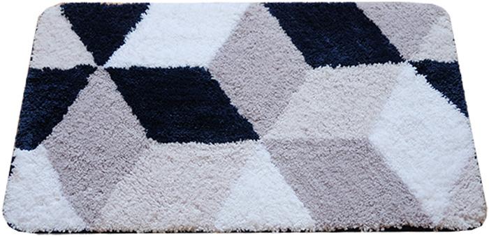Коврик для ванной комнаты Dasch Орнелла, цвет: серый, синий, 50 х 80 см коврик круглый для ванной dasch орнелла